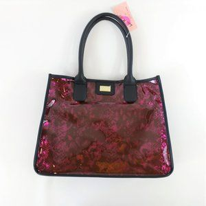Luv Betsey Clear Snake Print Tote with Pouch